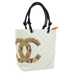 CHANEL Quilted Cambon Line CC Hand Tote Bag White